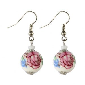 Drop Earring Country Garden Round Bead 30mm Made With Ceramic & Glass by JOE COOL