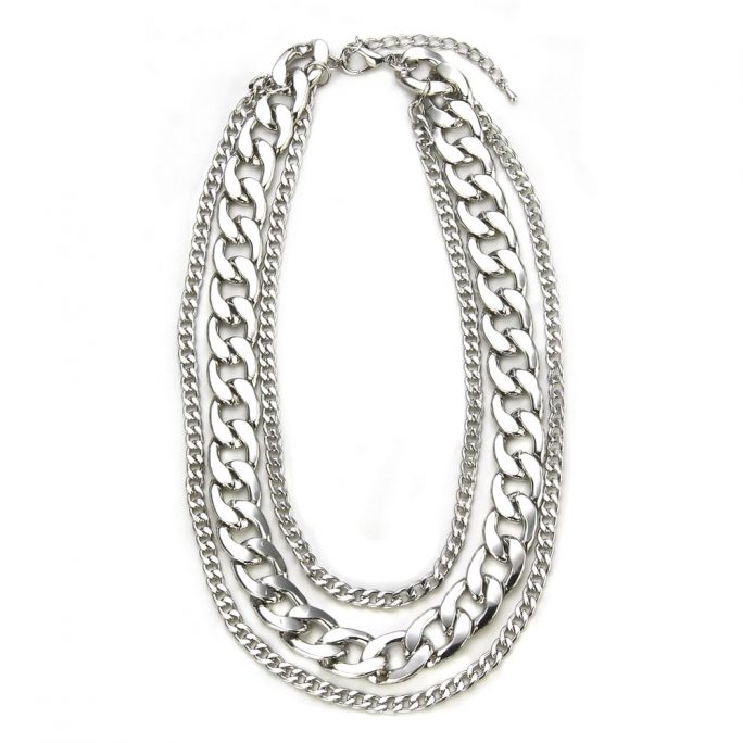 Necklace Chain 3 Strand Curb Chain 44 + 7cm Made With Iron by JOE COOL