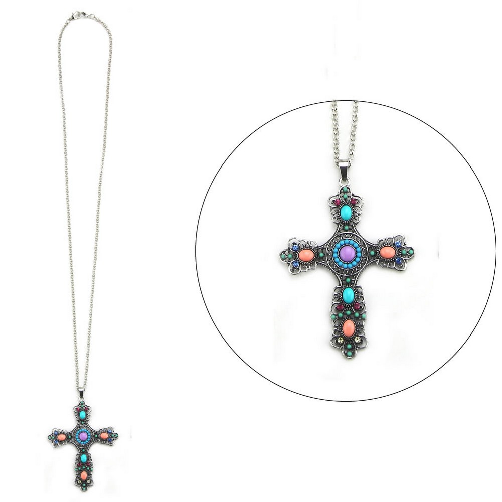 Necklace With A Pendant Embellished French Cross Max Made With Enamel & Tin Alloy by JOE COOL