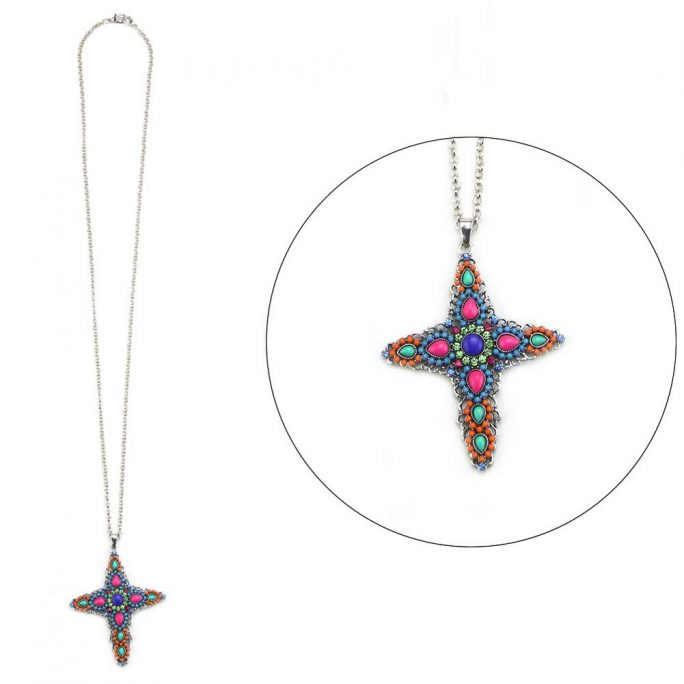Necklace With A Pendant Embellished Italian Cross 80cm Max Made With Enamel & Tin Alloy by JOE COOL