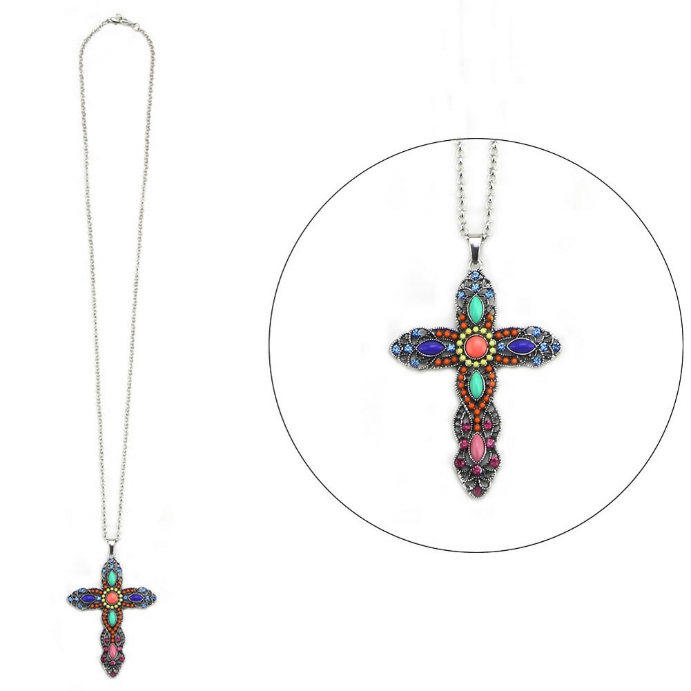 Necklace With A Pendant Embellished Rich Cross 80cm Max Made With Enamel & Tin Alloy by JOE COOL