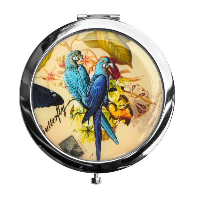 Compact Mirror Parrots Two Parrot Butterfly Text Made With Iron by JOE COOL