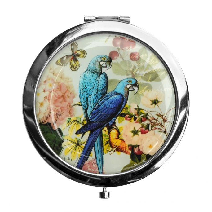 Compact Mirror Parrots Two Parrots With Butterfly Made With Iron by JOE COOL