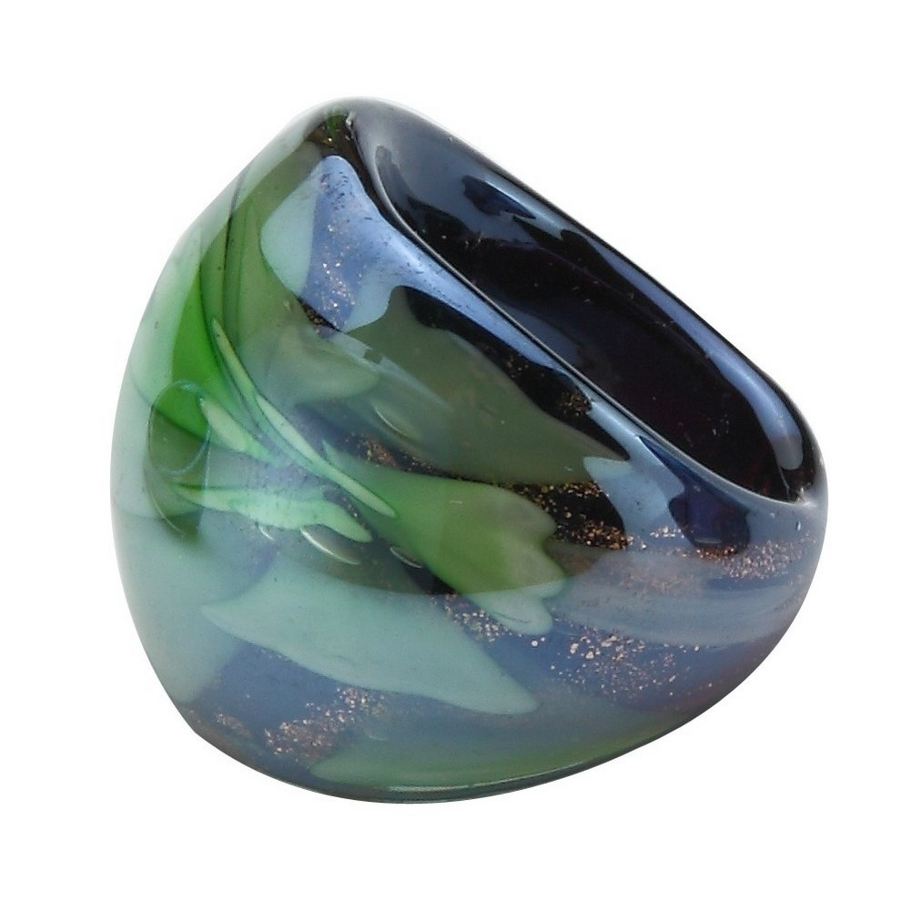 Ring Lustre Finish Domed Flower Made With Glass by JOE COOL