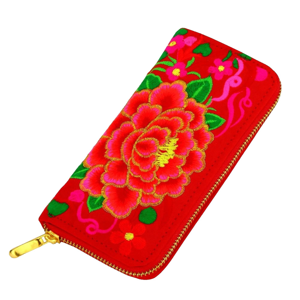 Zip Wallet Embroided Aztec Dahlia Made With Cotton by JOE COOL