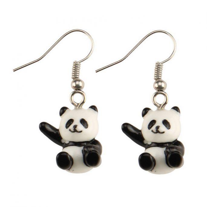 Drop Earring Hello Panda Made With Acrylic & Iron by JOE COOL
