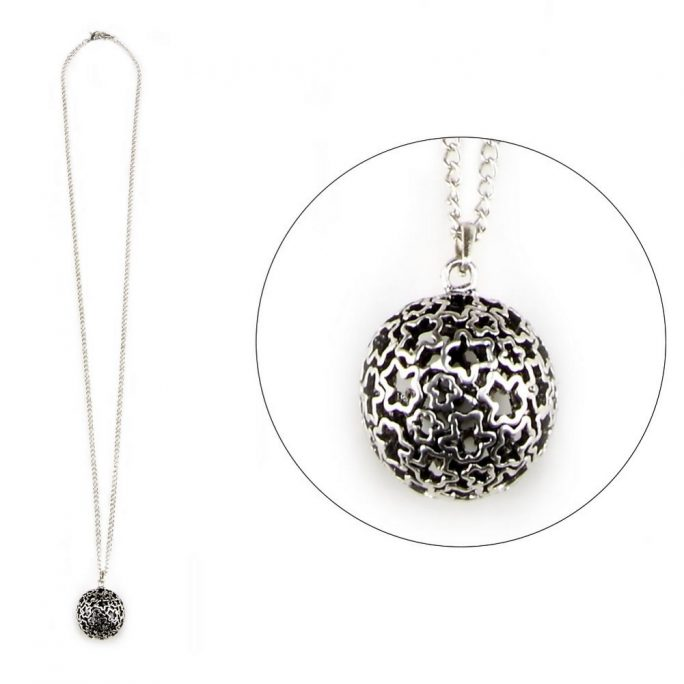 Necklace With A Pendant Etched Floral Sphere Made With Tin Alloy & Iron by JOE COOL