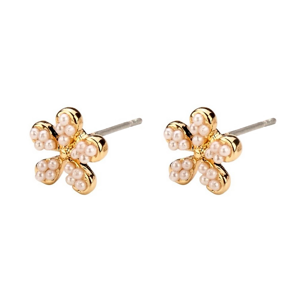 Stud Earring 5 Petal Flower Made With Glass Pearl & Tin Alloy by JOE COOL