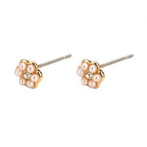 Stud Earring 6 Petal Flower Made With Glass Pearl & Tin Alloy by JOE COOL