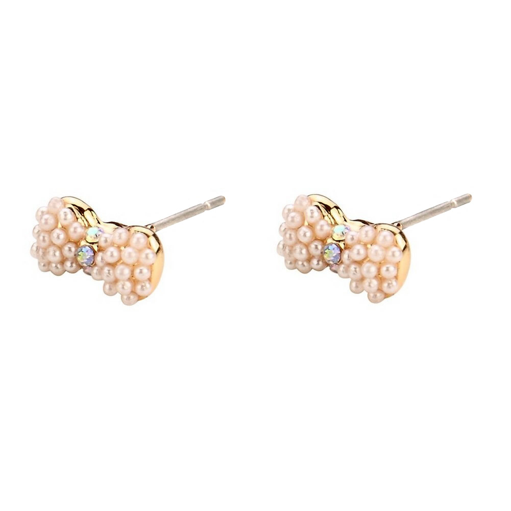 Stud Earring Bow Made With Glass Pearl & Tin Alloy by JOE COOL