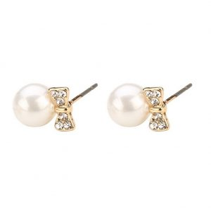 Stud Earring Bow With Pearl Bead Made With Crystal Glass by JOE COOL