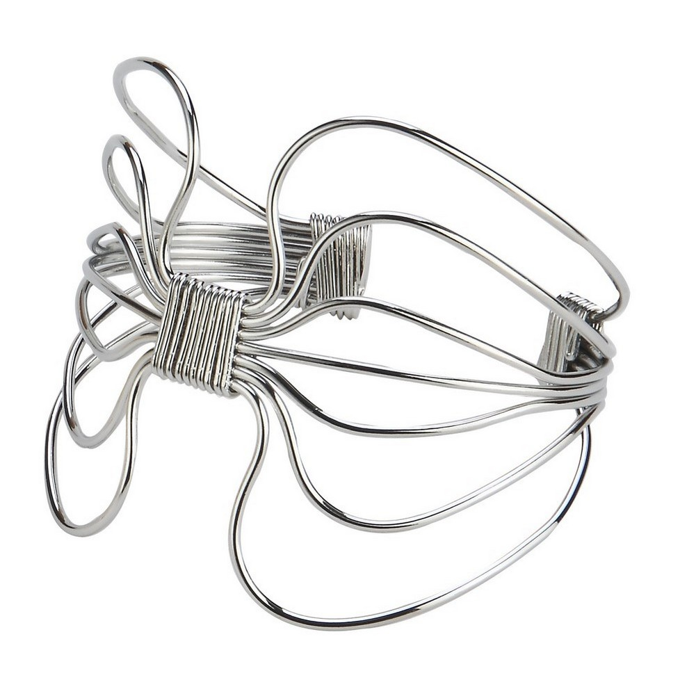 Bangle Art Noveau Gathered Wire 70mm Made With Iron by JOE COOL
