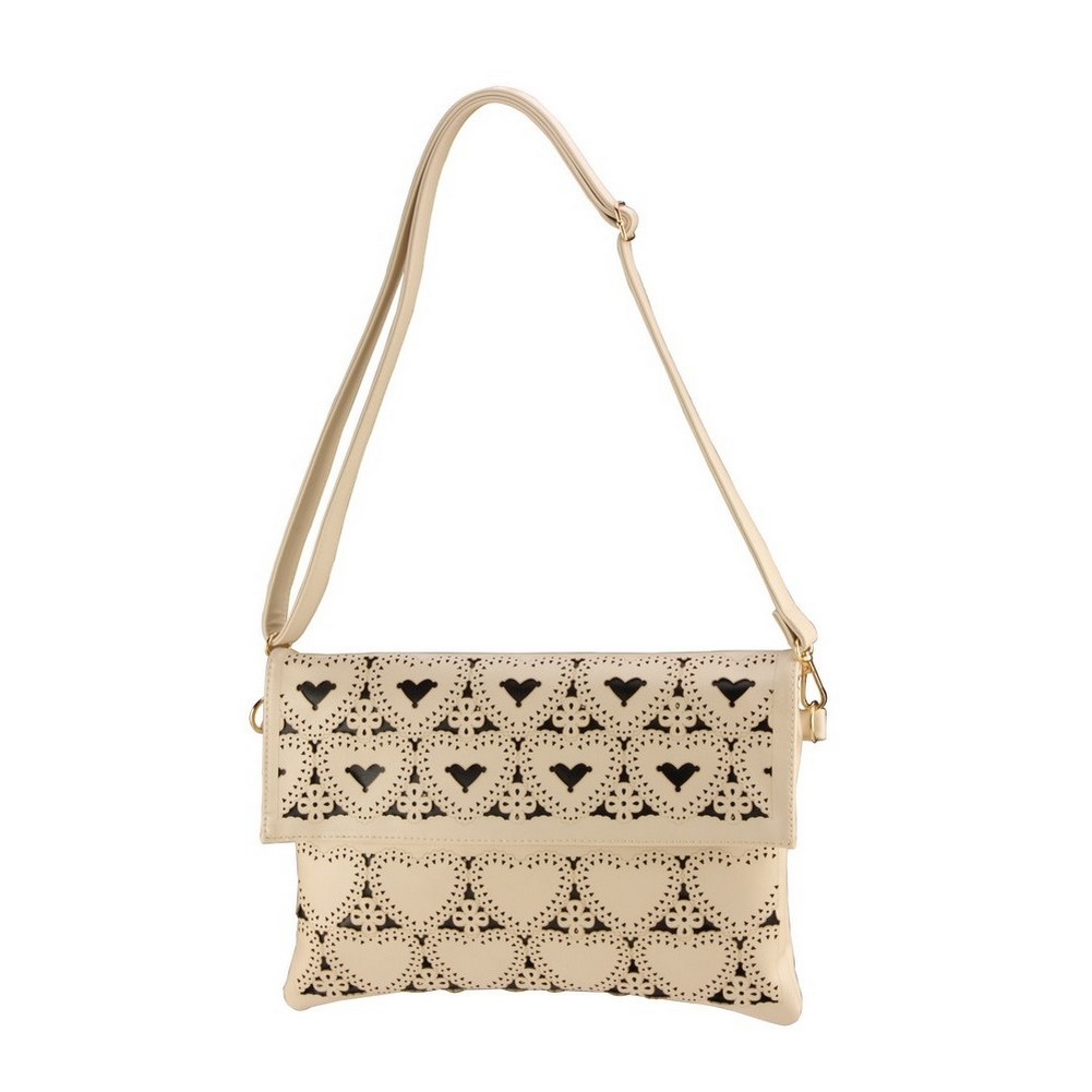 Clutch Bag Punched Perforare Hearts - With Strap Made With Pu by JOE COOL