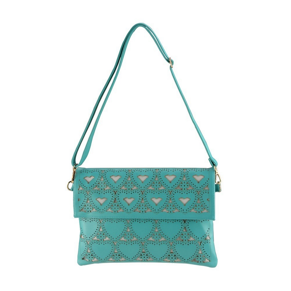 Clutch Bag Punched Perforare Hearts With Strap Made With Pu by JOE COOL