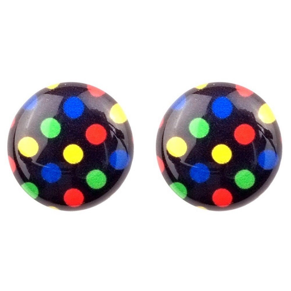Stud Earring Pop Art Polka Dot Made With Resin by JOE COOL