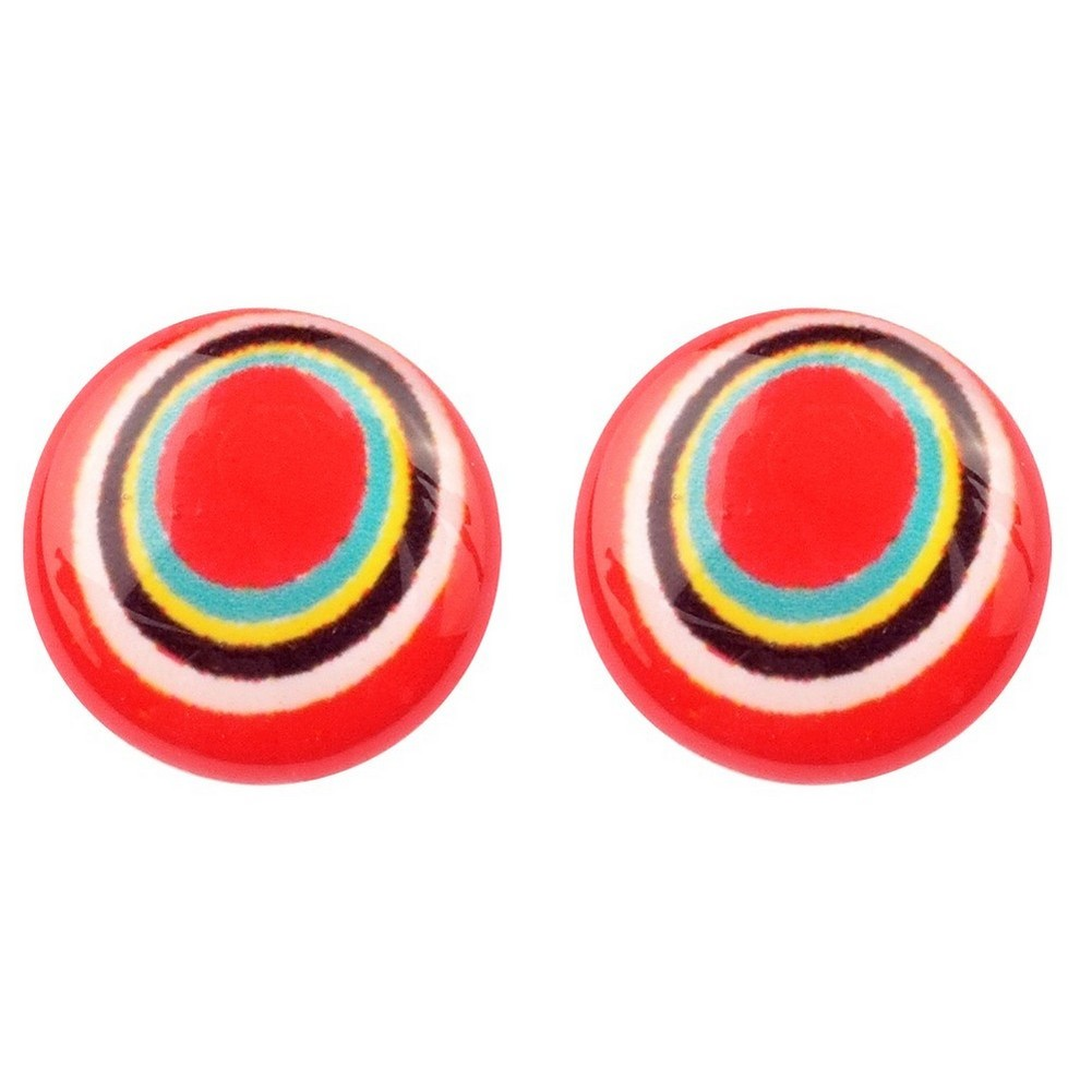 Stud Earring Pop Art Spiral Made With Resin by JOE COOL