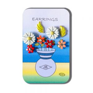 Story Card Of Earrings Vase Of Flowers (designs & Colours May Vary) Made With Crystal Glass by JOE COOL