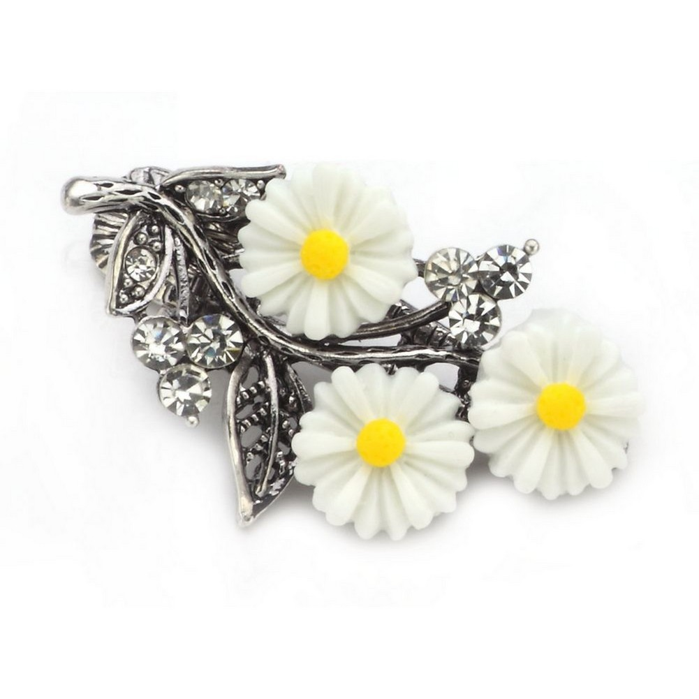 Barrette Daisy Bouquet Made With Crystal Glass & Tin Alloy by JOE COOL