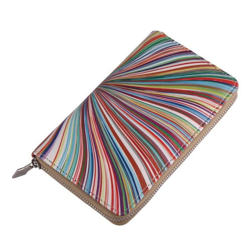 Zip Wallet Radial Art Stripe Made With Pu by JOE COOL