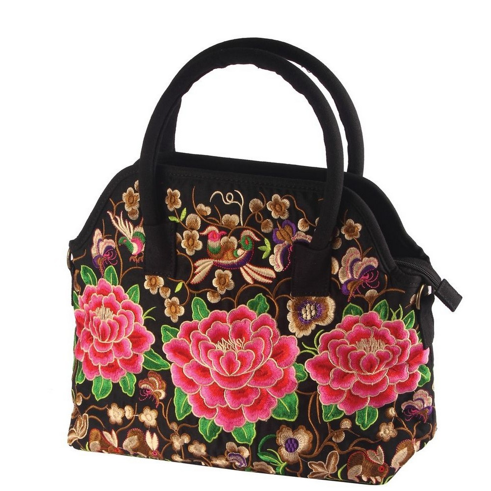 Shopper Bag Embroidered Peony Large Made With Polyester by JOE COOL