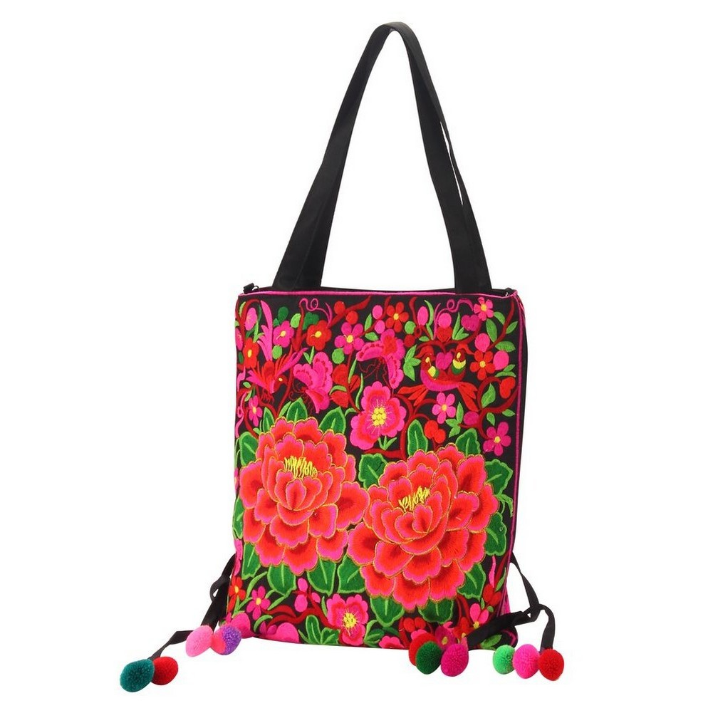 Shoulder Bag Embroidered Peony Made With Polyester by JOE COOL