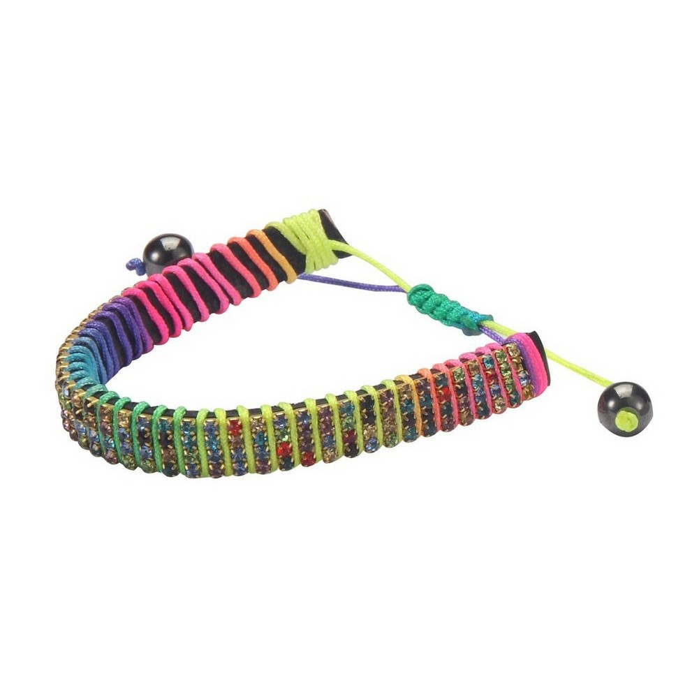 Bracelet Rainbow Bead Made With Crystal Glass & Cord by JOE COOL