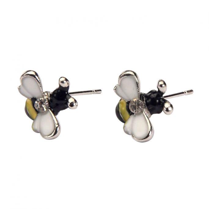 Stud Earring Bee Made With Enamel & Crystal Glass by JOE COOL