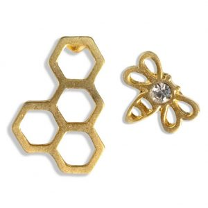 Stud Earring Bee & Honeycomb Made With Crystal Glass & Tin Alloy by JOE COOL