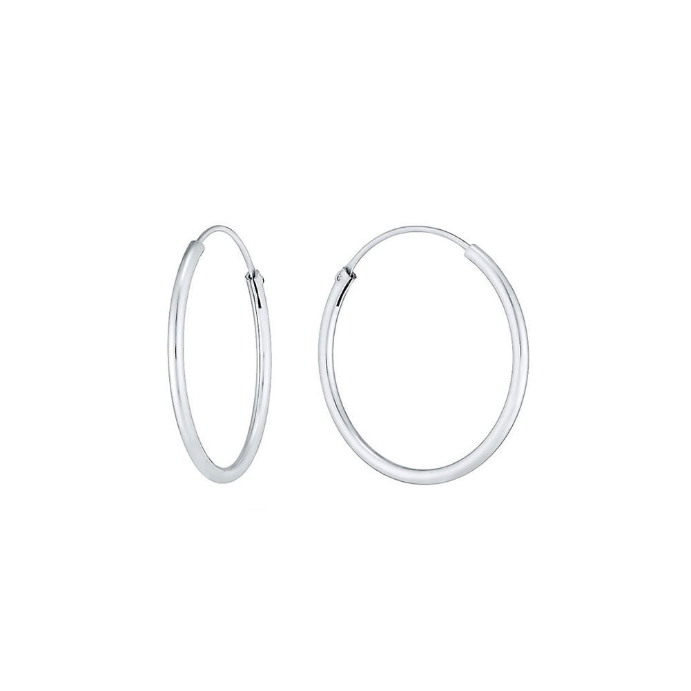Hoop Earring Hinged 1.5x 16mm Made With 925 Silver by JOE COOL