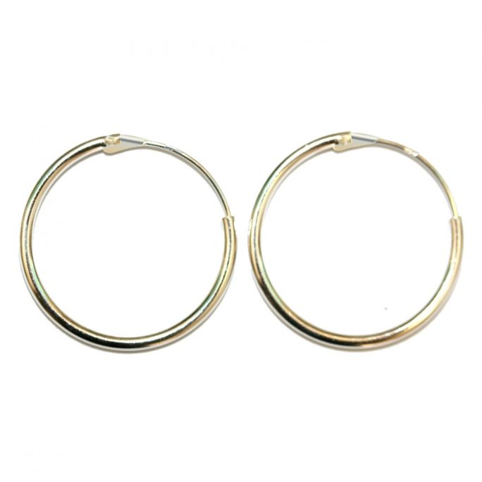 Hoop Earring Hinged 2x25mm Made With 925 Silver by JOE COOL