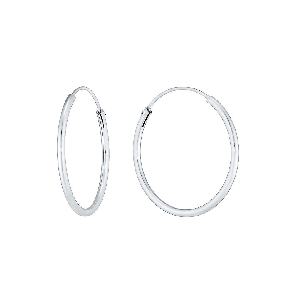 Hoop Earring Hinged 1.5x30mm Made With 925 Silver by JOE COOL