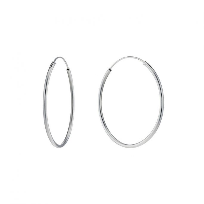 Hoop Earring Hinged 1.5x40mm Made With 925 Silver by JOE COOL