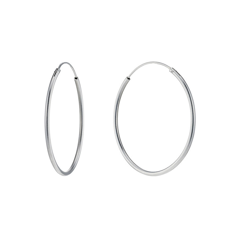 Hoop Earring Hinged 1.5x45mm Made With 925 Silver by JOE COOL