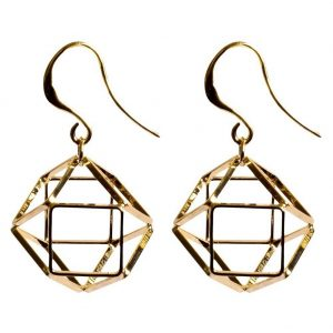Drop Earring Geo Cage Made With Tin Alloy by JOE COOL