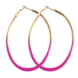 Hoop Earring Oval Made With Enamel & Tin Alloy by JOE COOL