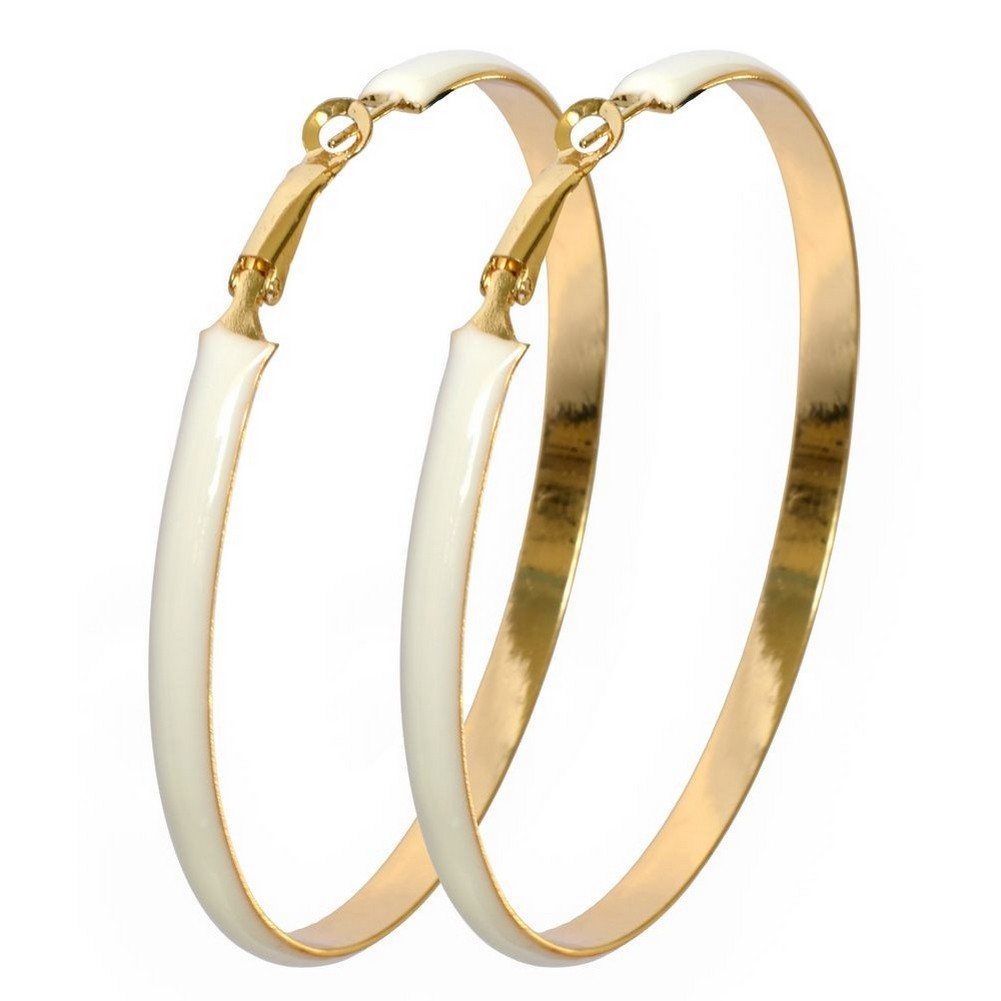 Hoop Earring Large Circle Made With Enamel & Tin Alloy by JOE COOL
