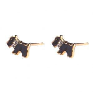 Stud Earring Scottie Dog Made With Enamel & Tin Alloy by JOE COOL