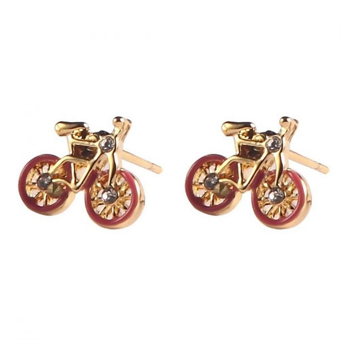 Stud Earring Bicycle Made With Enamel & Tin Alloy by JOE COOL