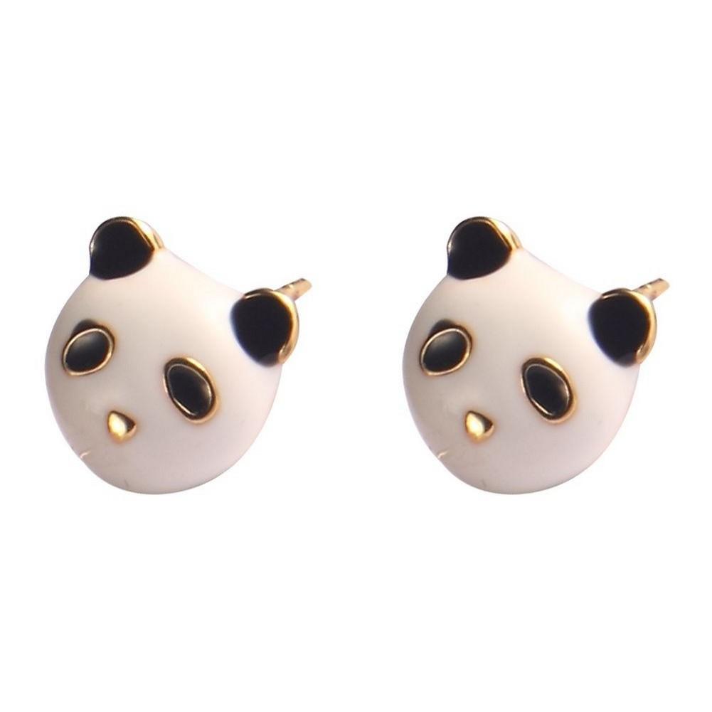 Stud Earring Panda Made With Enamel & Tin Alloy by JOE COOL