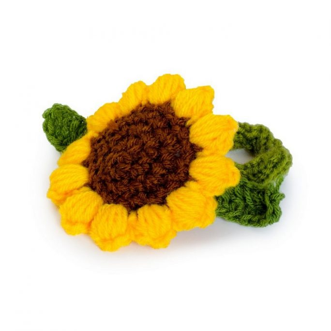 Hairwear Knitted Sunflower Made With Wool by JOE COOL