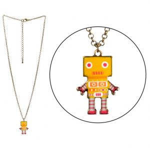 Necklace With A Pendant Robot Made With Tin Alloy & Enamel by JOE COOL