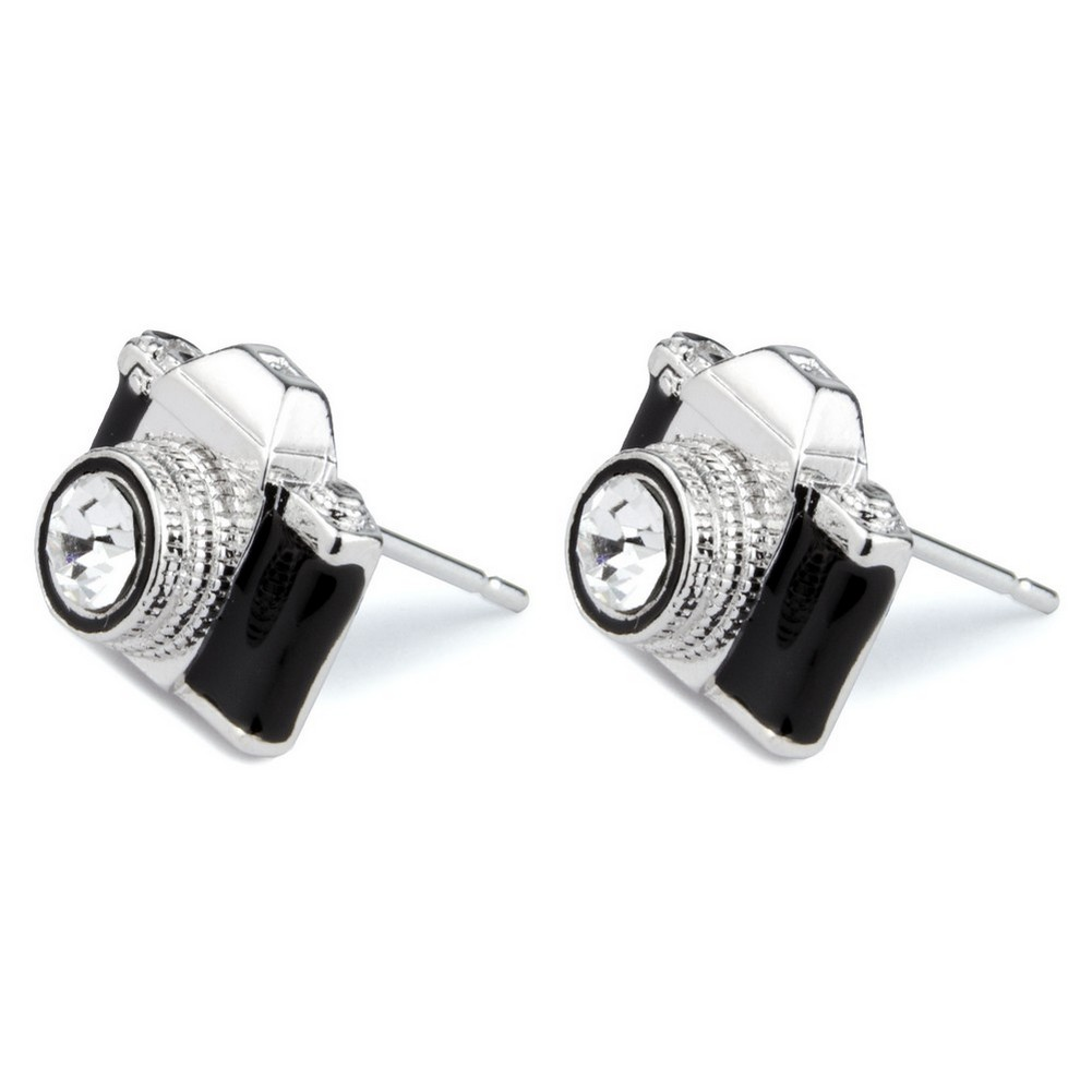 Stud Earring Camera Made With Crystal Glass & Enamel by JOE COOL