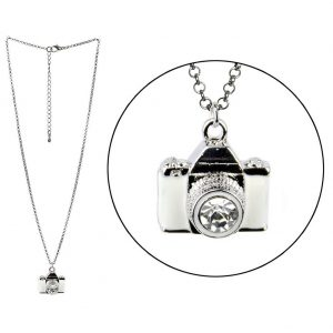 Necklace With A Pendant Camera Made With Crystal Glass & Enamel by JOE COOL