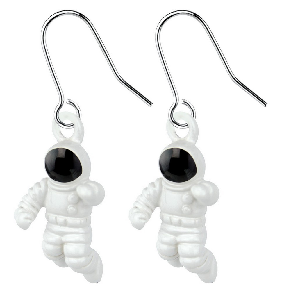 Drop Earring Astronaut Made With Enamel by JOE COOL