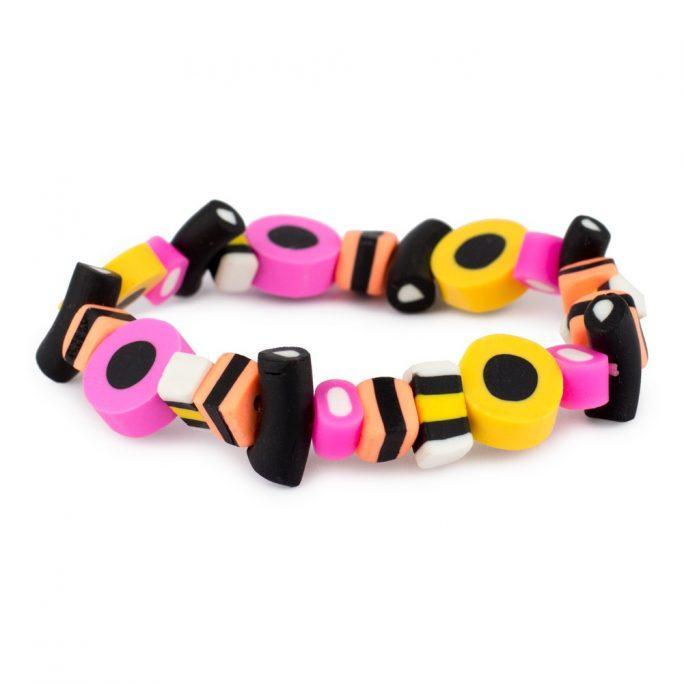 Bracelet Liquorice Allsorts Elasticated Made With Resin & Elastic by JOE COOL