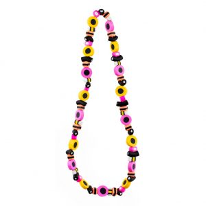 Bead String Necklace Liquorice Allsorts Elasticated Made With Resin by JOE COOL