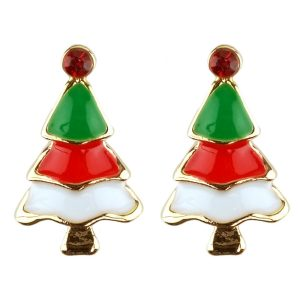 Stud Earring Christmas Small Tree Made With Crystal Glass & Enamel by JOE COOL