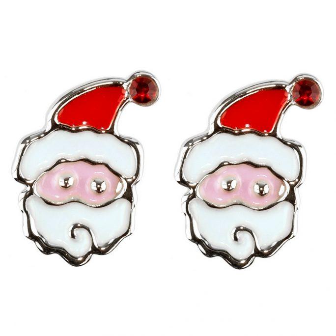 Stud Earring Christmas Small Santa Made With Crystal Glass & Enamel by JOE COOL