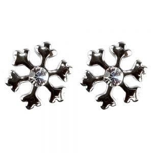Stud Earring Christmas Small Snowflake Made With Crystal Glass & Enamel by JOE COOL