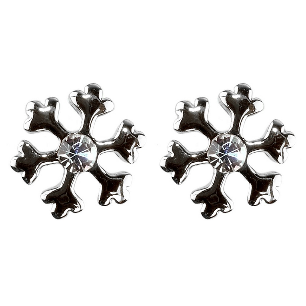 Stud Earring Christmas Small Snowflake Made With Crystal Glass & Enamel by JOE COOL